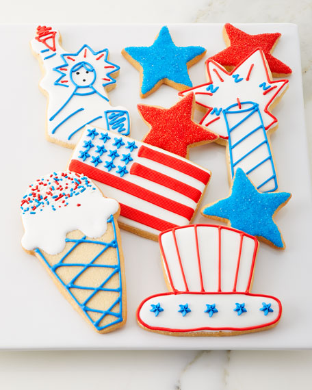 Patriotic Decorated Butter Cookies, Set of 6