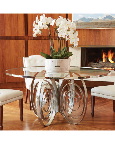 Delicate Scroll Glass-Top Dining Table