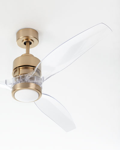 Elegant Sonet Satin Brass Ceiling Fan With Acrylic Blades