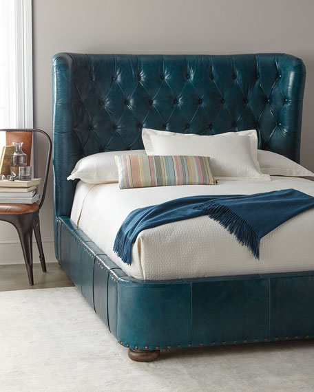 Forrest Tufted Leather Queen Shelter Bed