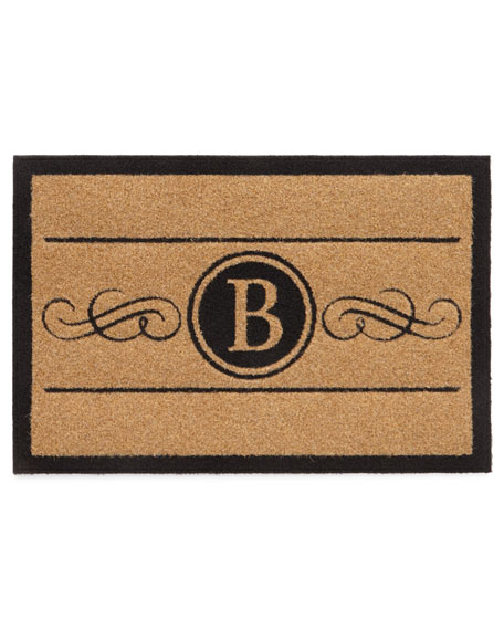 2 X 3 Natural Custom Scroll Monogrammed Rug