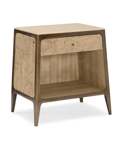 Get In Touch Stone-Top Night Stand with Puck Light