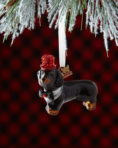 Dachshund Dog in Tuxedo Christmas Ornament