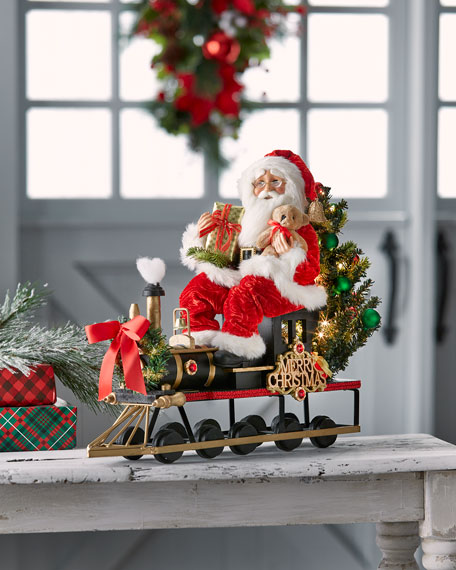 karen didion originals lighted merry christmas train santa
