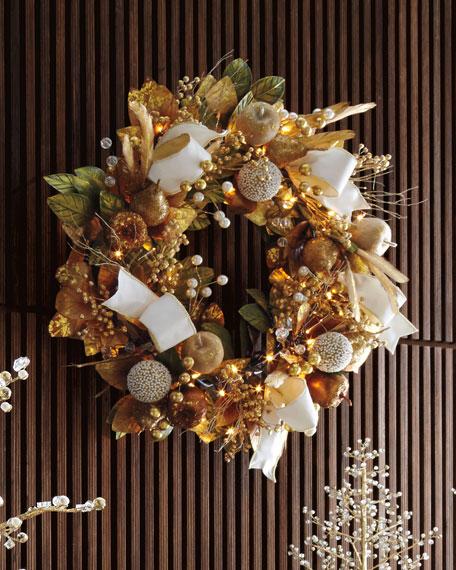 """Glimmer & Gold Prelit Wreath, 28"""""""