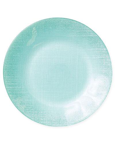 Glitter Glass Service Plate  Aqua