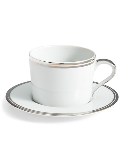 Wilshire Tea Cup and Saucer, Platinum