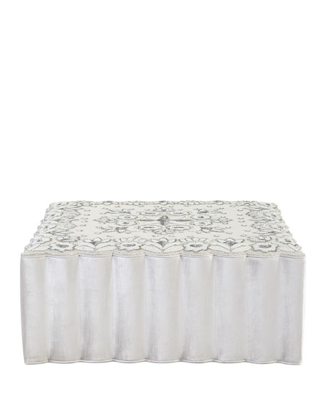 Beaded Velvet Square Ottoman