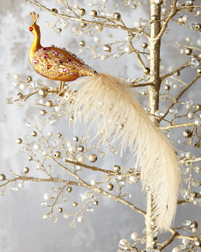 Peacock Ornament Clip, Gold