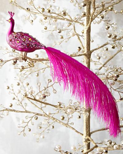 Peacock Ornament Clip, Pink