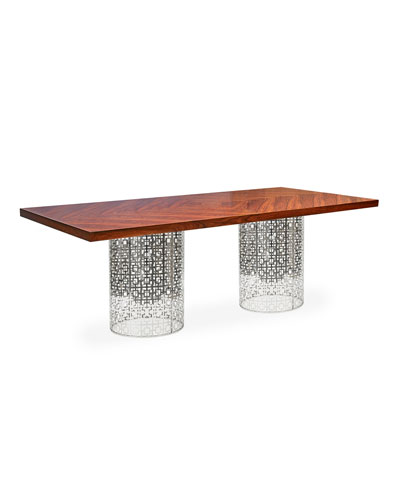 Nixon Dining Table, Rosewood/Nickel
