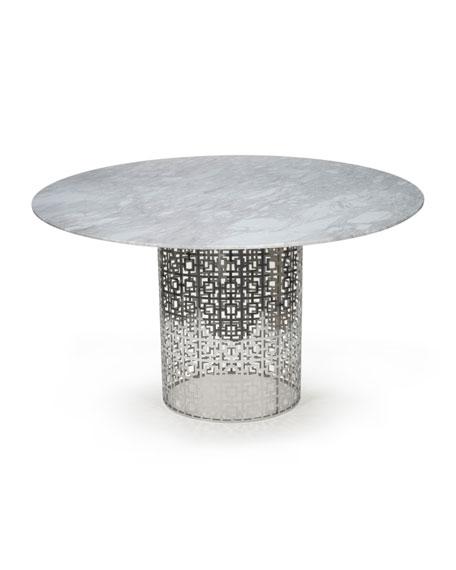 Nixon Dining Table, Marble/Nickel