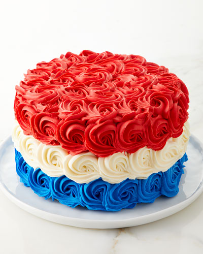 Red, White, and Blue Rosette Cake, 6