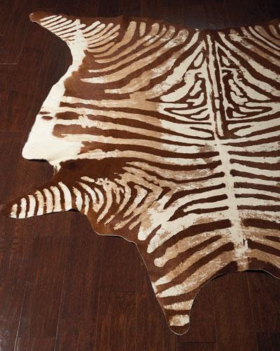 Valdis Zebra-Print Hairhide Rug  5' x 7'
