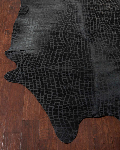 Raven Croc-Stamped Hairhide Rug, 5' x 7'