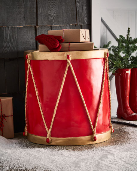 Christmas Drum Decor.Live Form Red And Metallic Gold Drum Outdoor Christmas Decor