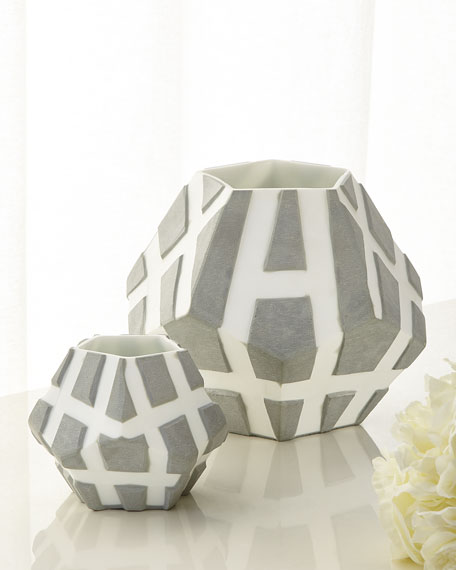 Two-Tone Faceted Vases, Set of 2