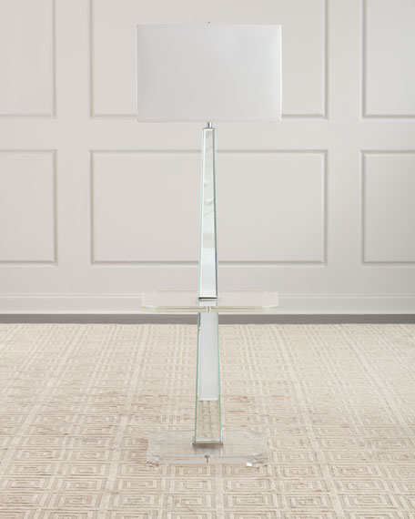 Acrylic Mirrored Floor Lamp with Table