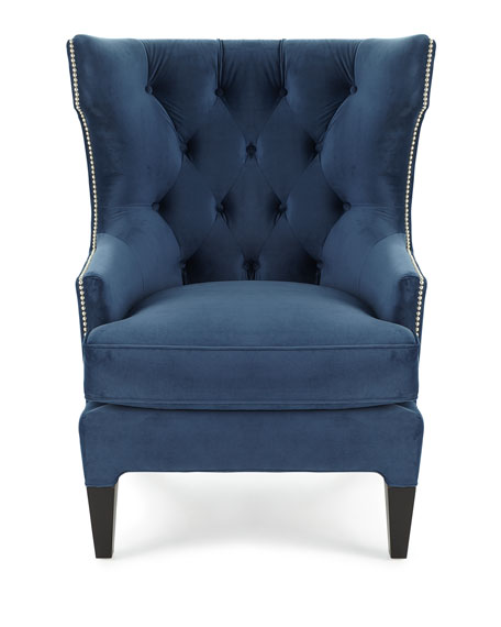 Essie Tufted Velvet Wing Chair