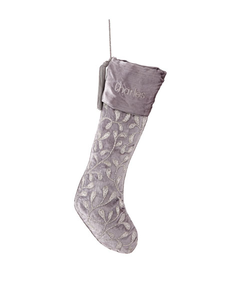 Velvet Bead Embroidered Stocking