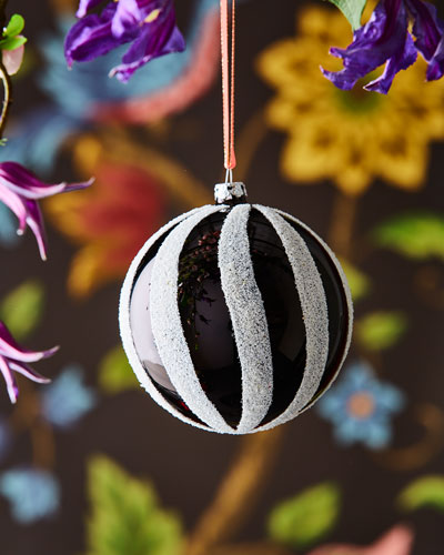 Glass Striped Ball Ornament