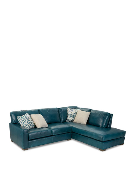 Shariah Leather Right-Chaise Sectional 102""