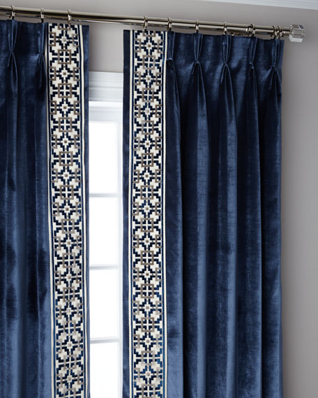 Navy Structure 3-Fold Pinch Pleat Curtain Panel, 120""