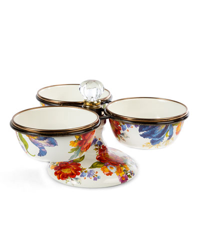 Flower Market Enamel Triple Bowl Server