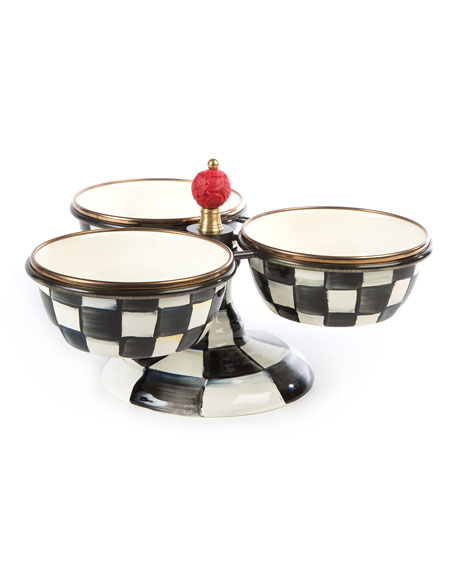 Courtly Check Enamel Triple Bowl Server