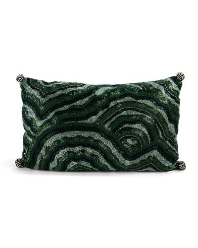 Malachite Beaded Lumbar Pillow