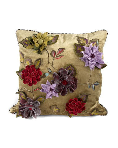 MacKenzie-Childs Greengage Floral Pillow