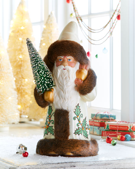 Gold Santa Decor with Fur Trim