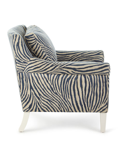 Zebra Rolled-Arm Lounge Chair