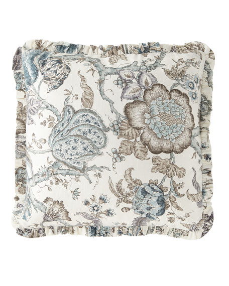 Floral-Print Pillow with Mini Ruffle Flange