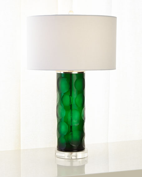 Green Cut Glass Table Lamp