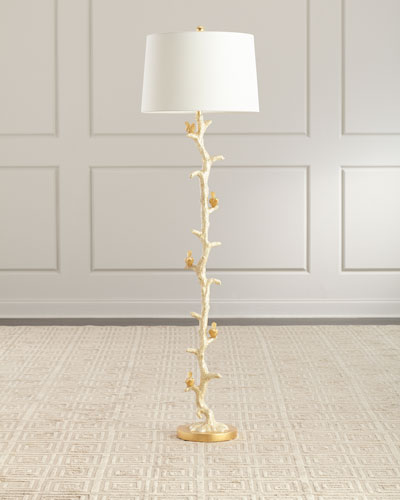 Gold Bird & Capiz Dust Floor Lamp
