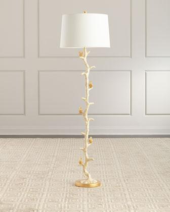 Gold Bird & Capiz Dust Floor Lamp