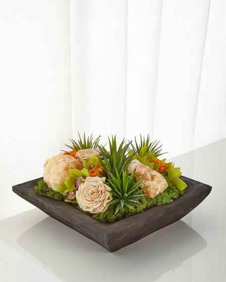 Succulents and Yellow Calcite Faux-Floral Arrangement