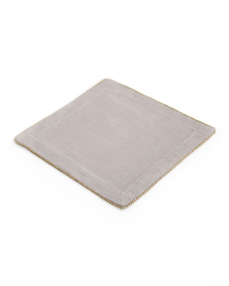Brass-Beaded Cocktail Napkin, Slate