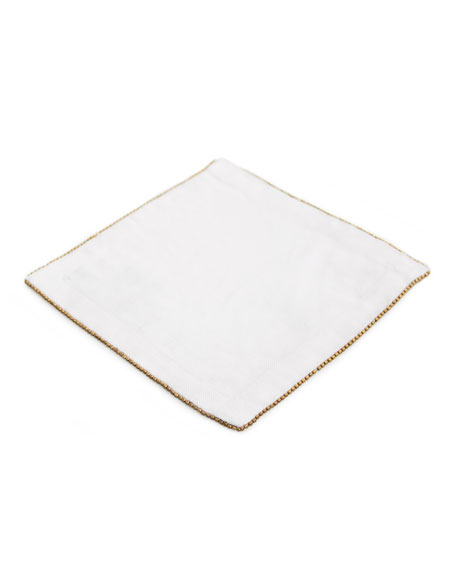 Michael Aram Brass-Beaded Cocktail Napkin, Eggshell