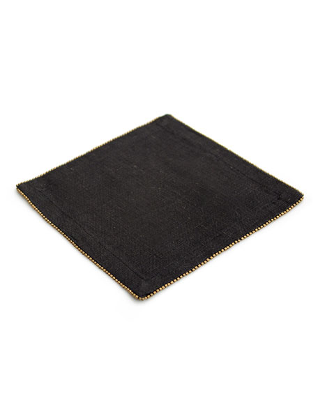 Brass-Beaded Cocktail Napkin, Charcoal
