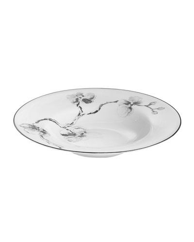 Black Orchid Rimmed Bowl