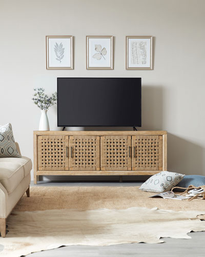 Ella 4-Door Basket Weave Entertainment Console