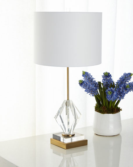 Josephine Crystal Diamond Table Lamp with Brass Metal