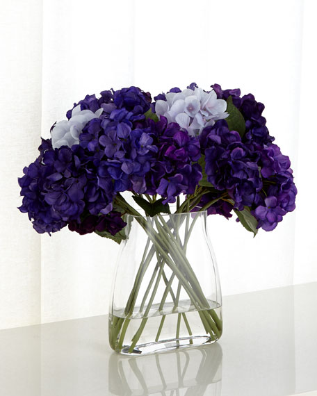 Imperial Hydrangeas Faux Florals in Glass Vase