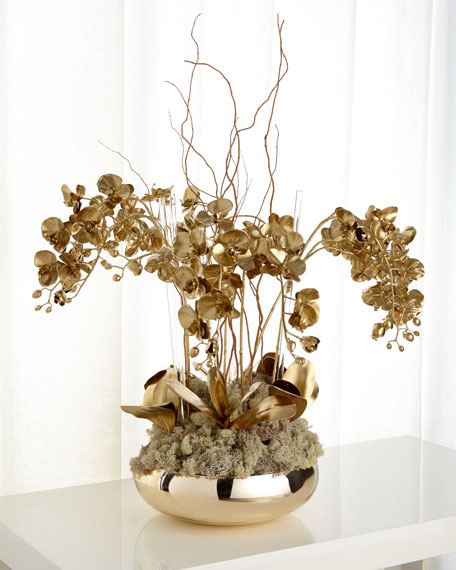 John-Richard Collection Golden Phalaenopsis Orchid Faux Floral