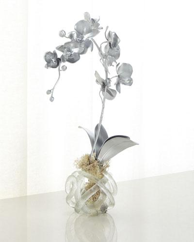 Silver Orchid Faux-Floral Arrangement