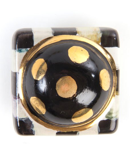 Petit Four Square Courtly Check Knob