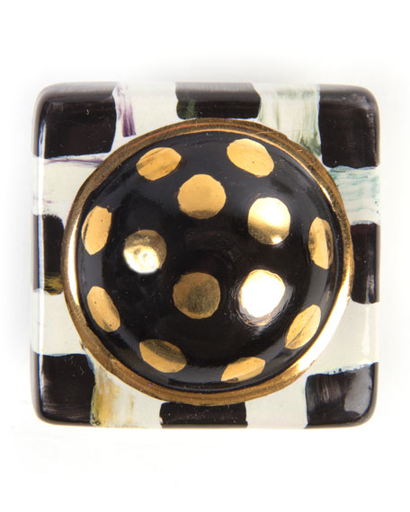Courtly Check Square Majolica Decorative Knob