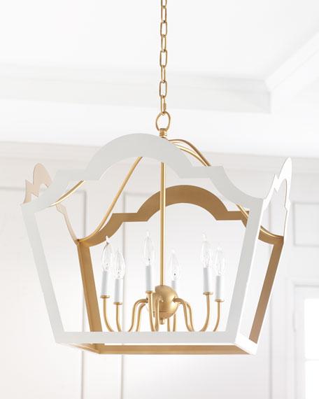 Jaclyn Glossy White & Gold Leaf Pendant